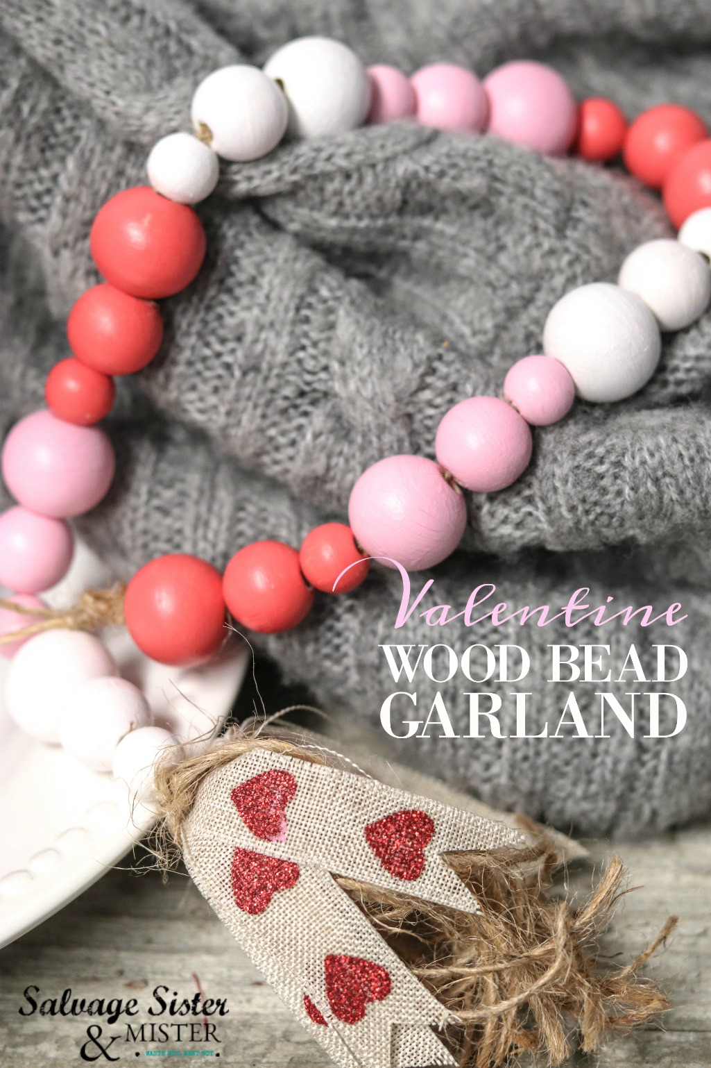 Valentine Wood Bead Garland Salvage Sister And Mister